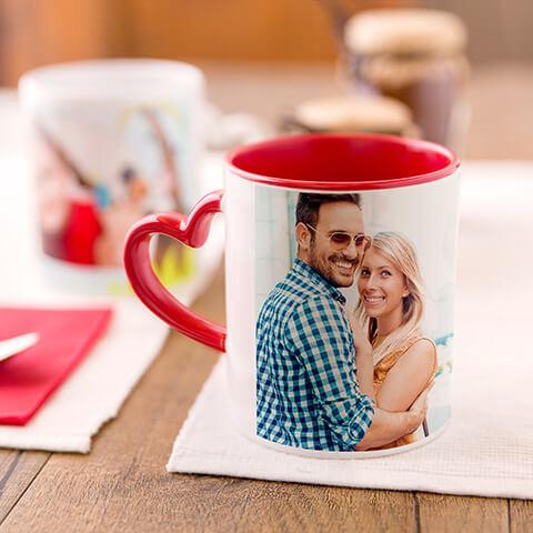 tazza regalo con foto stampata con manico a forma di cuore